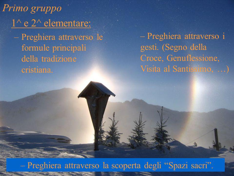 Primo gruppo 1^ e 2^ elementare: –Preghiera attraverso le formule principali della tradizione cristiana. – Preghiera attraverso i gesti. (Segno della