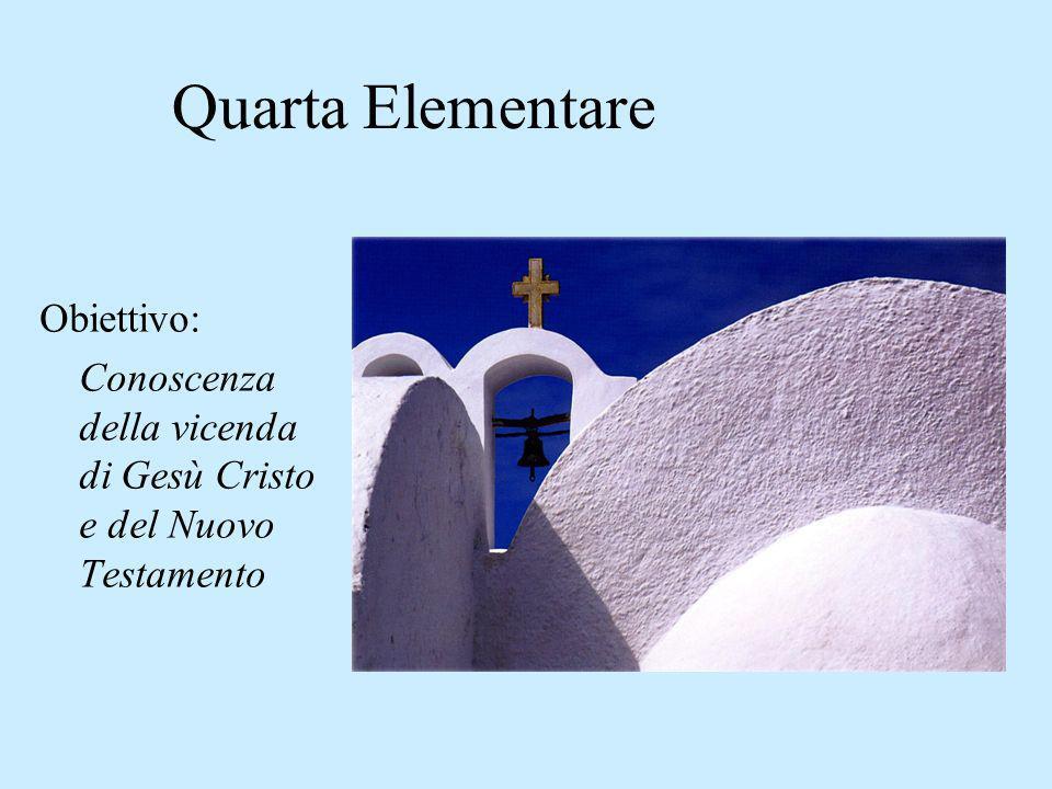 Quarta Elementare Obiettivo: Conoscenza della vicenda di Gesù Cristo e del Nuovo Testamento