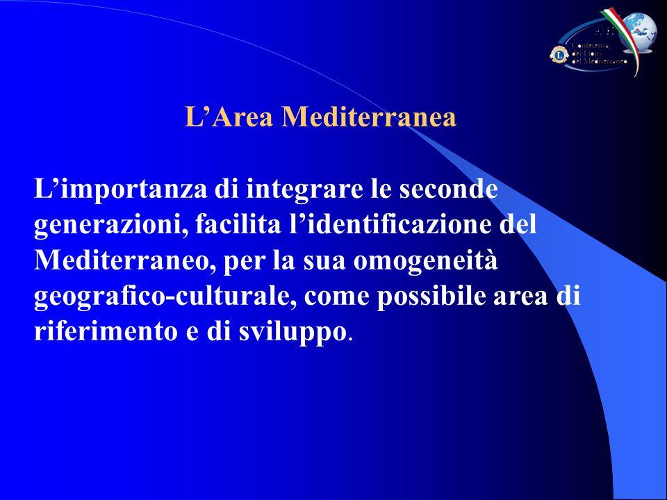 Limportanza di integrare le seconde generazioni, facilita lidentificazione del Mediterraneo, per la sua omogeneità geografico-culturale, come possibile area di riferimento e di sviluppo.