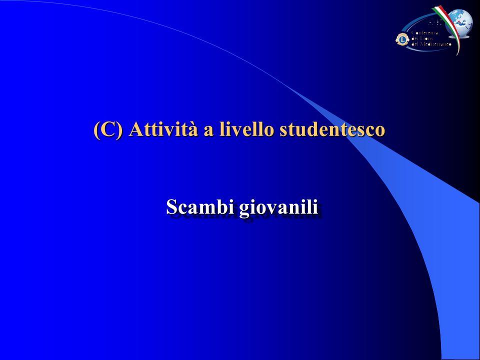 (C) Attività a livello studentesco Scambi giovanili