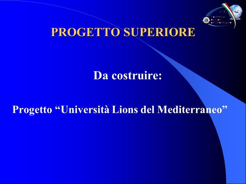 PROGETTO SUPERIORE Da costruire: Progetto Università Lions del Mediterraneo