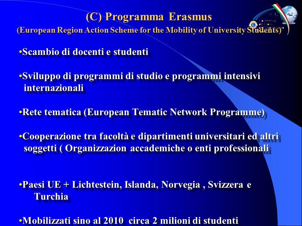 (C) Programma Erasmus (European Region Action Scheme for the Mobility of University Students) Scambio di docenti e studentiScambio di docenti e studen