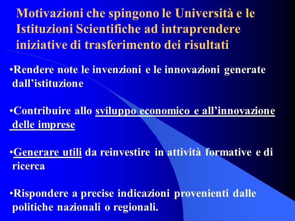 Motivazioni che spingono le Università e le Istituzioni Scientifiche ad intraprendere iniziative di trasferimento dei risultati Rendere note le invenz