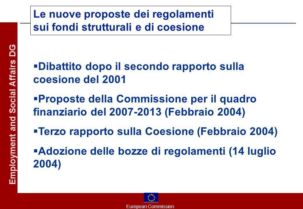 European Commission Employment and Social Affairs DG Le nuove proposte dei regolamenti sui fondi strutturali e di coesione Dibattito dopo il secondo rapporto sulla coesione del 2001 Proposte della Commissione per il quadro finanziario del 2007-2013 (Febbraio 2004) Terzo rapporto sulla Coesione (Febbraio 2004) Adozione delle bozze di regolamenti (14 luglio 2004)