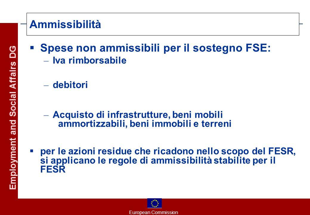 European Commission Employment and Social Affairs DG Ammissibilità Spese non ammissibili per il sostegno FSE: – Iva rimborsabile – debitori – Acquisto di infrastrutture, beni mobili ammortizzabili, beni immobili e terreni per le azioni residue che ricadono nello scopo del FESR, si applicano le regole di ammissibilità stabilite per il FESR
