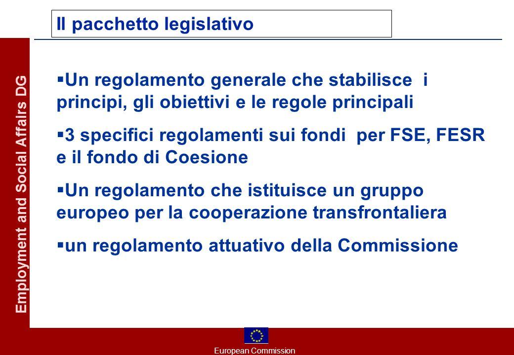 European Commission Employment and Social Affairs DG Il pacchetto legislativo Un regolamento generale che stabilisce i principi, gli obiettivi e le regole principali 3 specifici regolamenti sui fondi per FSE, FESR e il fondo di Coesione Un regolamento che istituisce un gruppo europeo per la cooperazione transfrontaliera un regolamento attuativo della Commissione