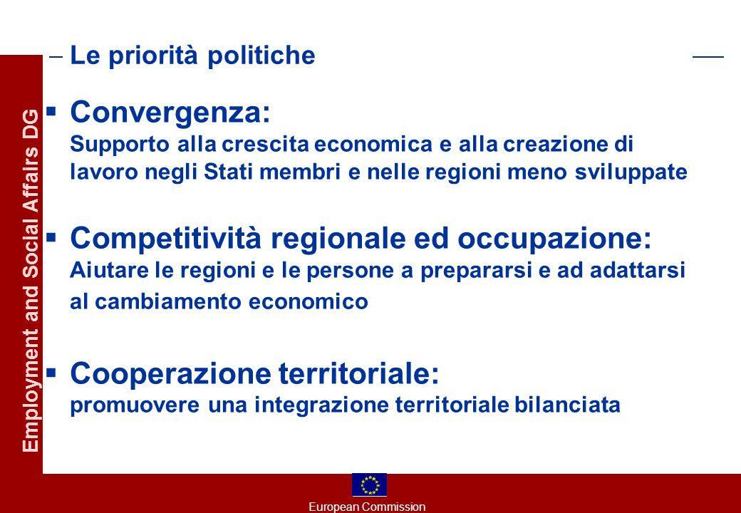 European Commission Employment and Social Affairs DG La nuova architettura: 3 Obiettivi, 3 Fondi Convergenza (FESR, FSE, FC): - regioni (PIL pro capite < 75 % della media comunitaria - regioni interessate dall effetto statistico - SM (RNL Reddito nazionale Lordo pro capite < 90% della media comunitaria) - Regioni ultraperiferiche con fondi FESR specifici Competitività regionale ed occupazione: (FESR,FSE) -regioni phasing in -tutte le altre parti dell Unione: no zoning Cooperazione territoriale europea (FESR) Assenza di iniziative comunitarie