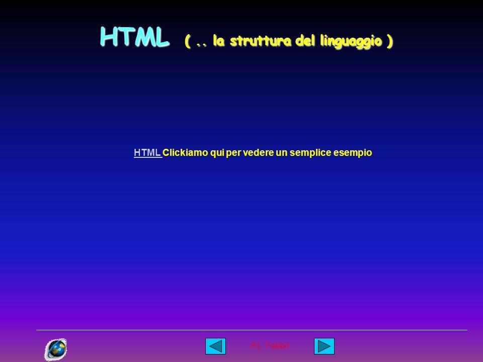 P.L. Fabbri La struttura del linguaggio e quindi del documento HTML ( ipertesto ) deve essere in grado di informare chi lo interpreta ( di solito un p