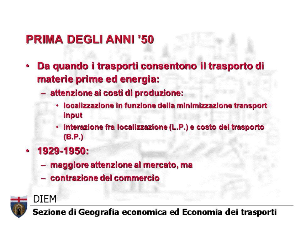 PRIMA DEGLI ANNI 50 Da quando i trasporti consentono il trasporto di materie prime ed energia:Da quando i trasporti consentono il trasporto di materie