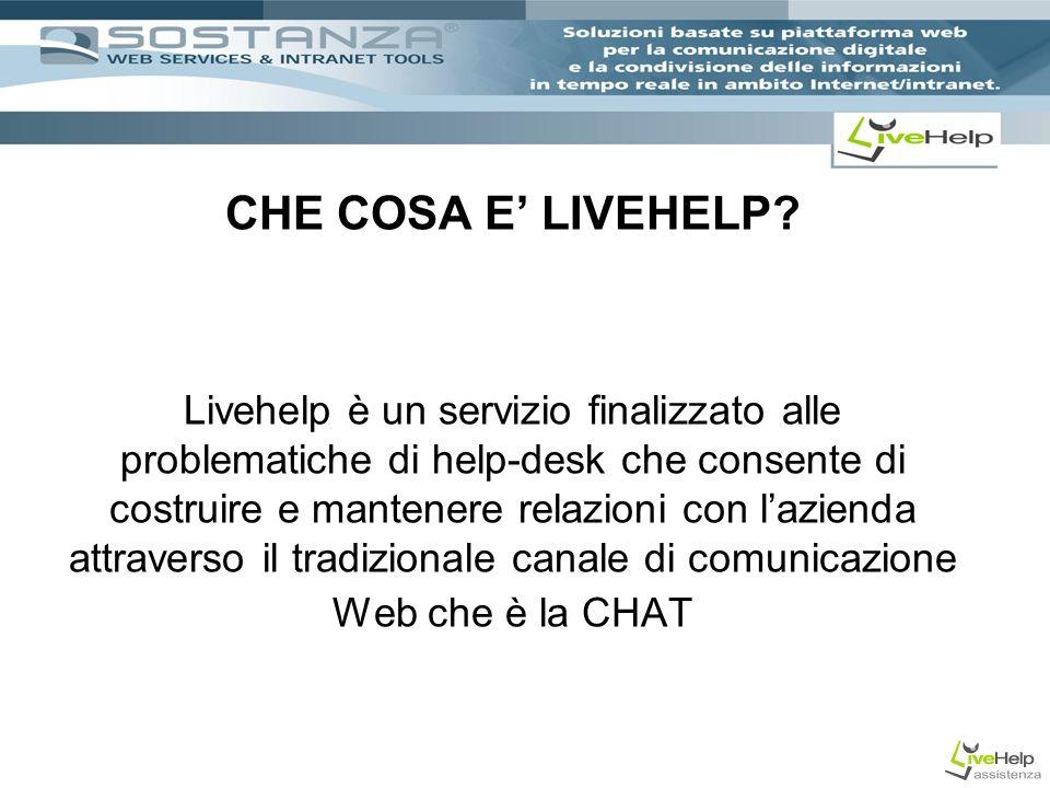CHE COSA E LIVEHELP? Livehelp è un servizio finalizzato alle problematiche di help-desk che consente di costruire e mantenere relazioni con lazienda a
