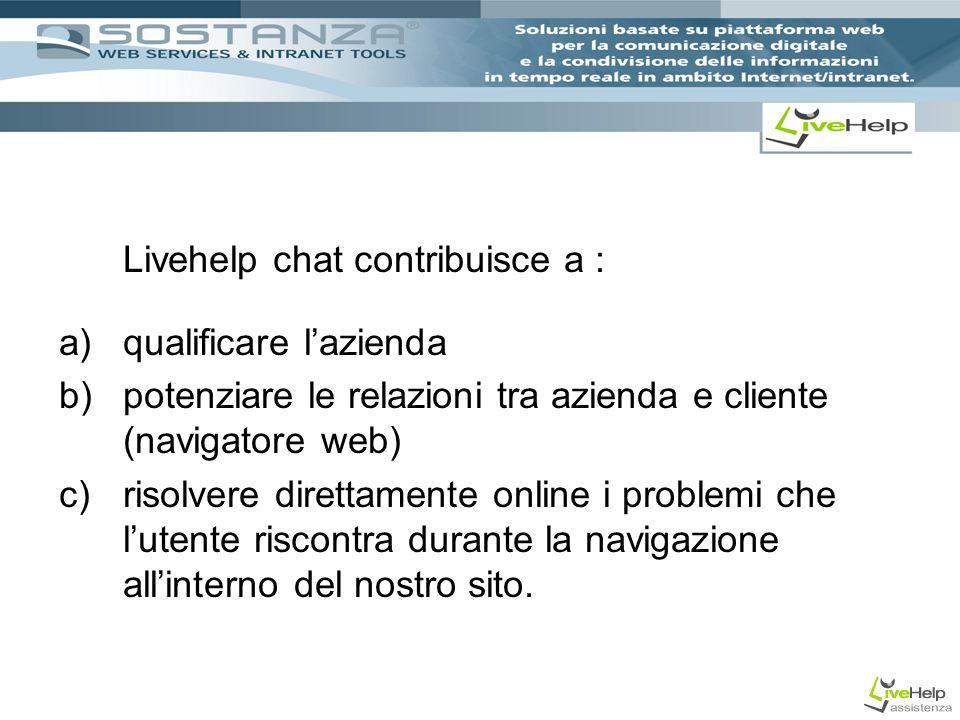 Livehelp chat contribuisce a : a)qualificare lazienda b)potenziare le relazioni tra azienda e cliente (navigatore web) c)risolvere direttamente online i problemi che lutente riscontra durante la navigazione allinterno del nostro sito.