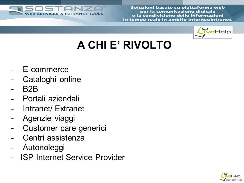 A CHI E RIVOLTO - E-commerce - Cataloghi online - B2B - Portali aziendali - Intranet/ Extranet - Agenzie viaggi - Customer care generici - Centri assistenza - Autonoleggi - ISP Internet Service Provider