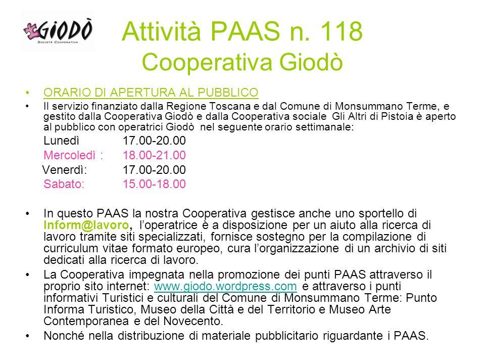 Volantino Servizio Inform@lavoro PAAS n. 118