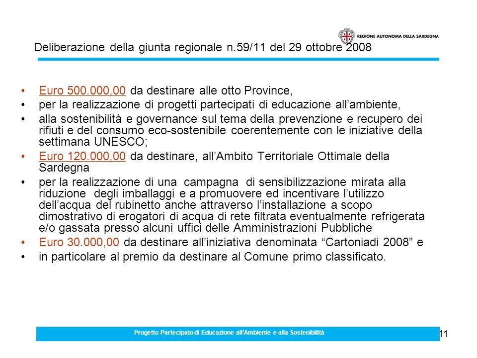 11 Euro 500.000,00 da destinare alle otto Province, per la realizzazione di progetti partecipati di educazione allambiente, alla sostenibilità e governance sul tema della prevenzione e recupero dei rifiuti e del consumo eco-sostenibile coerentemente con le iniziative della settimana UNESCO; Euro 120.000,00 da destinare, allAmbito Territoriale Ottimale della Sardegna per la realizzazione di una campagna di sensibilizzazione mirata alla riduzione degli imballaggi e a promuovere ed incentivare lutilizzo dellacqua del rubinetto anche attraverso linstallazione a scopo dimostrativo di erogatori di acqua di rete filtrata eventualmente refrigerata e/o gassata presso alcuni uffici delle Amministrazioni Pubbliche Euro 30.000,00 da destinare alliniziativa denominata Cartoniadi 2008 e in particolare al premio da destinare al Comune primo classificato.