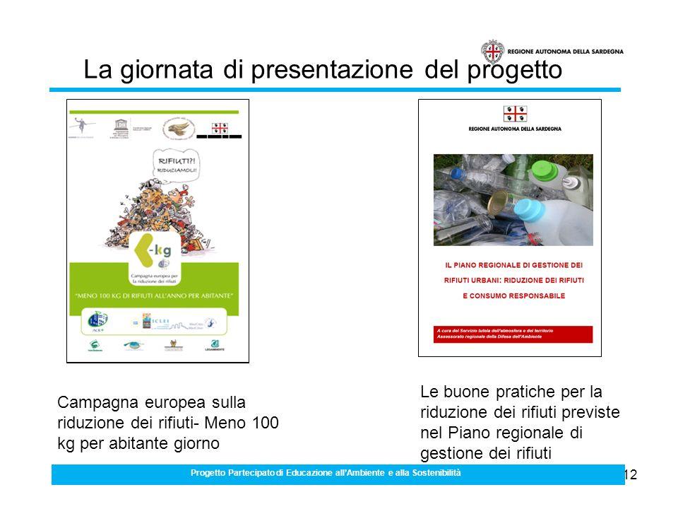 12 Progetto Partecipato di Educazione allAmbiente e alla Sostenibilità La giornata di presentazione del progetto Campagna europea sulla riduzione dei rifiuti- Meno 100 kg per abitante giorno Le buone pratiche per la riduzione dei rifiuti previste nel Piano regionale di gestione dei rifiuti