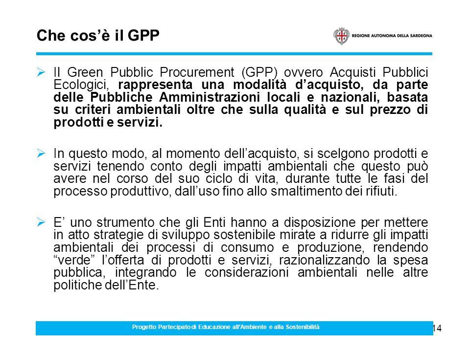 14 Che cosè il GPP Il Green Pubblic Procurement (GPP) ovvero Acquisti Pubblici Ecologici, rappresenta una modalità dacquisto, da parte delle Pubbliche Amministrazioni locali e nazionali, basata su criteri ambientali oltre che sulla qualità e sul prezzo di prodotti e servizi.