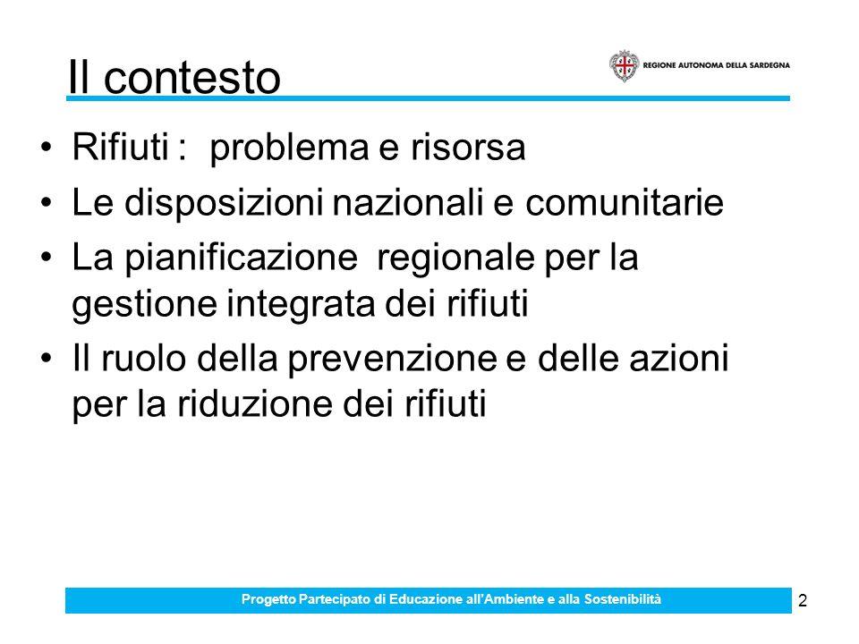 2 Il contesto Rifiuti : problema e risorsa Le disposizioni nazionali e comunitarie La pianificazione regionale per la gestione integrata dei rifiuti Il ruolo della prevenzione e delle azioni per la riduzione dei rifiuti Progetto Partecipato di Educazione allAmbiente e alla Sostenibilità