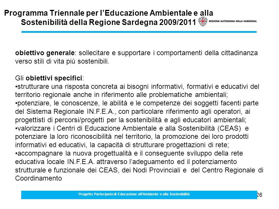 26 Programma Triennale per lEducazione Ambientale e alla Sostenibilità della Regione Sardegna 2009/2011 Progetto Partecipato di Educazione allAmbiente e alla Sostenibilità obiettivo generale: sollecitare e supportare i comportamenti della cittadinanza verso stili di vita più sostenibili.