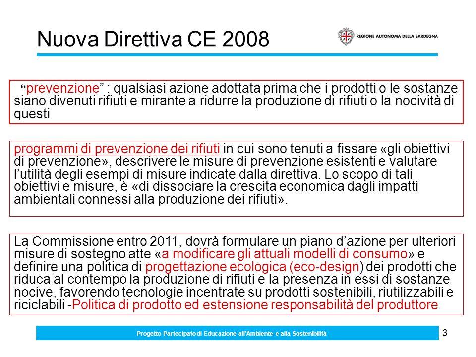 3 Nuova Direttiva CE 2008 programmi di prevenzione dei rifiuti in cui sono tenuti a fissare «gli obiettivi di prevenzione», descrivere le misure di prevenzione esistenti e valutare lutilità degli esempi di misure indicate dalla direttiva.