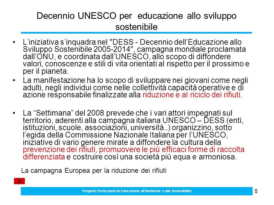 5 Decennio UNESCO per educazione allo sviluppo sostenibile Liniziativa sinquadra nel DESS - Decennio dellEducazione allo Sviluppo Sostenibile 2005-2014 , campagna mondiale proclamata dallONU, e coordinata dallUNESCO, allo scopo di diffondere valori, conoscenze e stili di vita orientati al rispetto per il prossimo e per il pianeta.