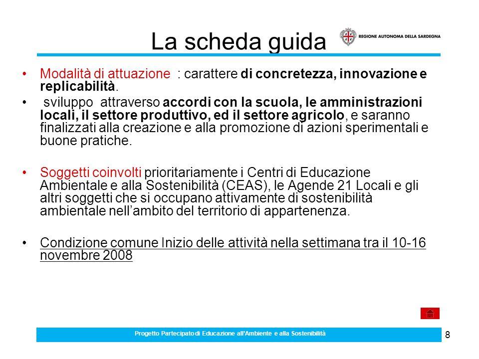 8 La scheda guida Modalità di attuazione : carattere di concretezza, innovazione e replicabilità.