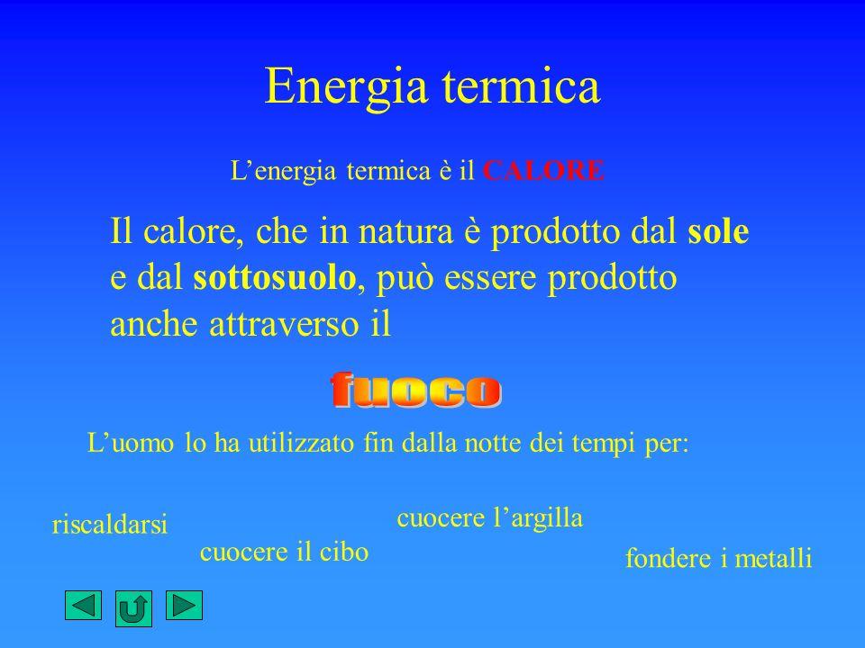 Energia termica Lenergia termica è il CALORE Il calore, che in natura è prodotto dal sole e dal sottosuolo, può essere prodotto anche attraverso il Lu