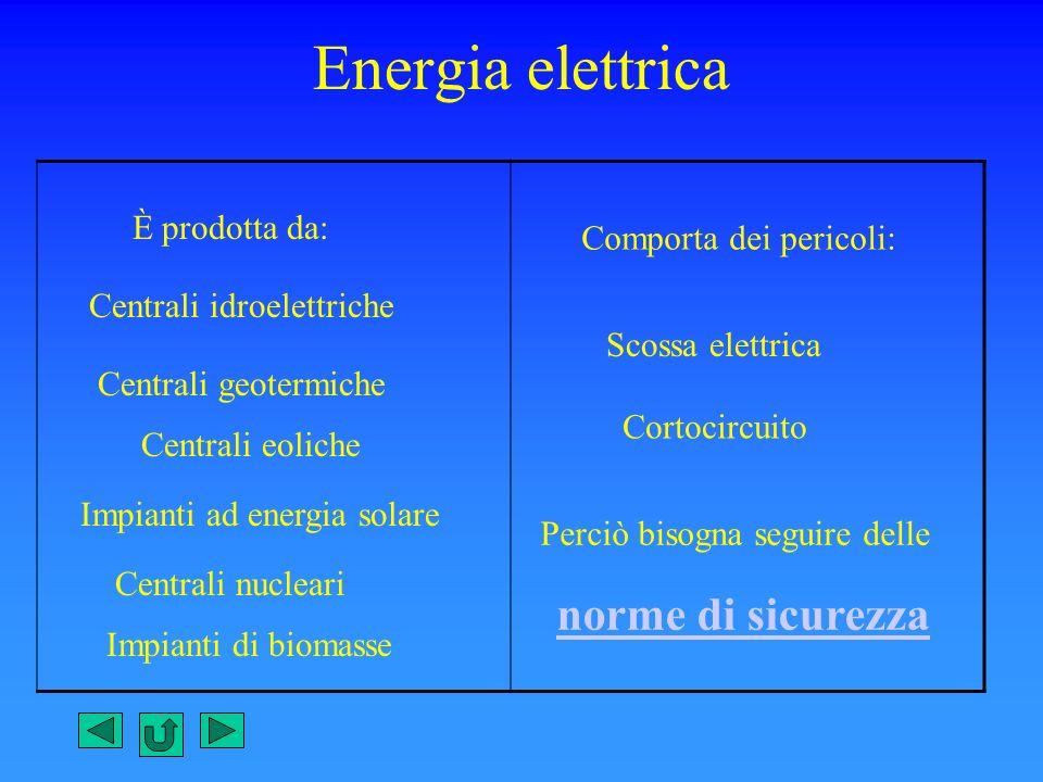 Energia elettrica È prodotta da: Centrali idroelettriche Centrali geotermiche Centrali eoliche Impianti ad energia solare Centrali nucleari Impianti d