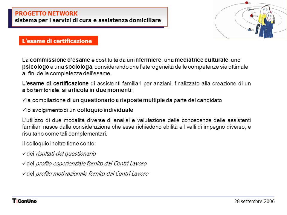 PROGETTO NETWORK sistema per i servizi di cura e assistenza domiciliare Lesame di certificazione 28 settembre 2006 La commissione desame è costituita