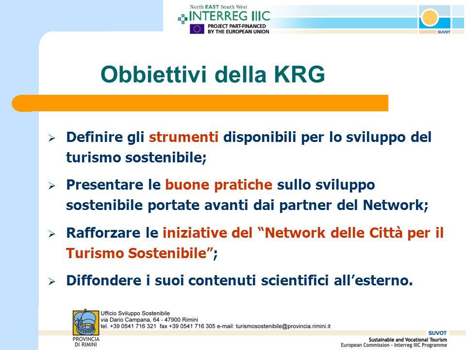 Obbiettivi della KRG Definire gli strumenti disponibili per lo sviluppo del turismo sostenibile; Presentare le buone pratiche sullo sviluppo sostenibile portate avanti dai partner del Network; Rafforzare le iniziative del Network delle Città per il Turismo Sostenibile; Diffondere i suoi contenuti scientifici allesterno.