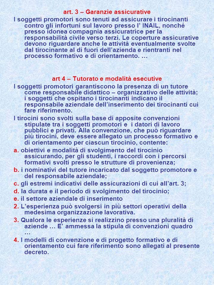 art. 3 – Garanzie assicurative I soggetti promotori sono tenuti ad assicurare i tirocinanti contro gli infortuni sul lavoro presso l INAIL, nonché pre