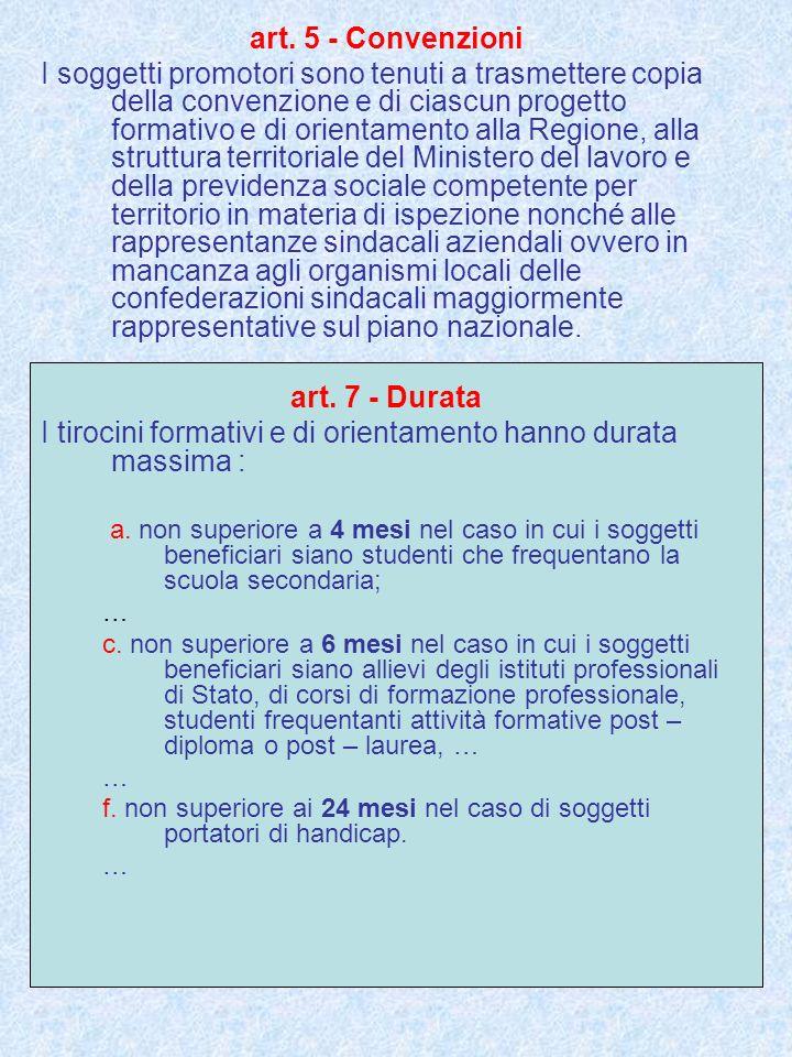 art. 5 - Convenzioni I soggetti promotori sono tenuti a trasmettere copia della convenzione e di ciascun progetto formativo e di orientamento alla Reg