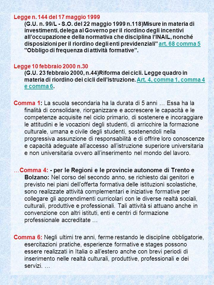 Legge n.144 del 17 maggio 1999 (G.U. n. 99/L - S.O.