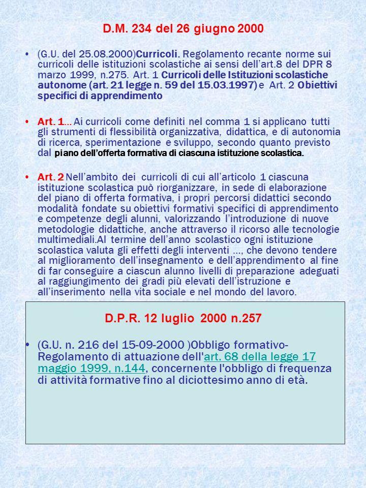 D.M. 234 del 26 giugno 2000 (G.U. del 25.08.2000)Curricoli.