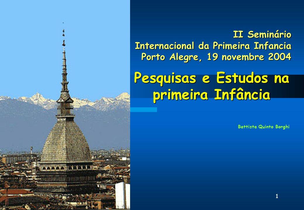 1 II Seminário Internacional da Primeira Infancia Porto Alegre, 19 novembre 2004 Pesquisas e Estudos na primeira Infância Battista Quinto Borghi