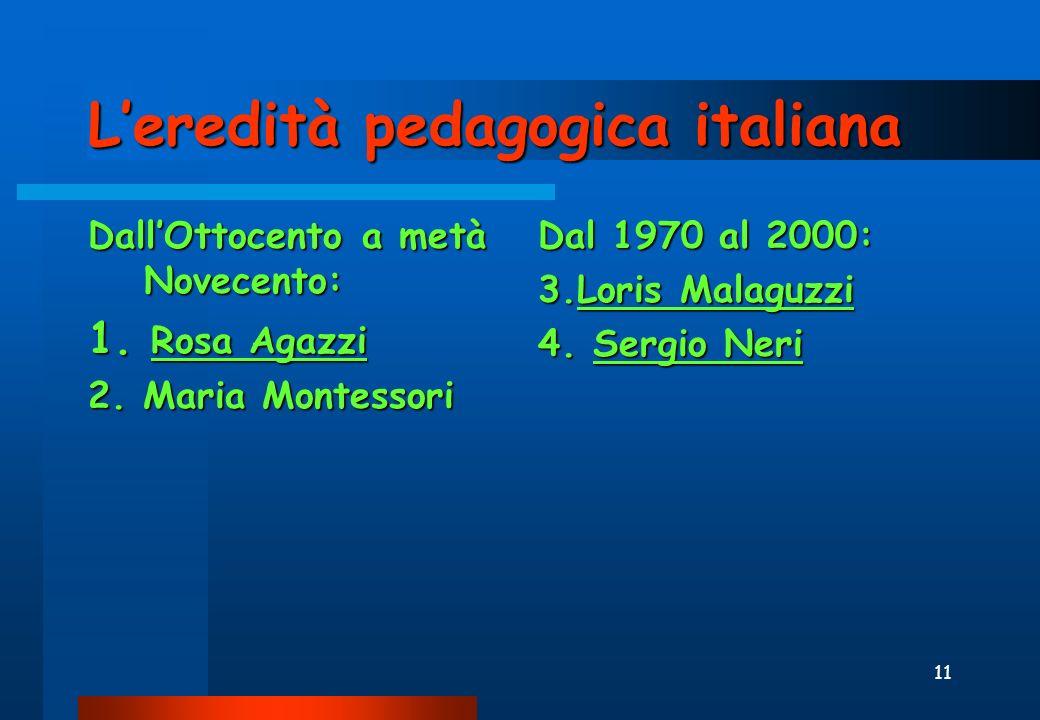 11 Leredità pedagogica italiana DallOttocento a metà Novecento: 1.