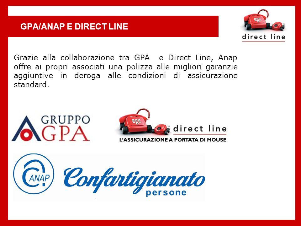 GPA/ANAP E DIRECT LINE Grazie alla collaborazione tra GPA e Direct Line, Anap offre ai propri associati una polizza alle migliori garanzie aggiuntive