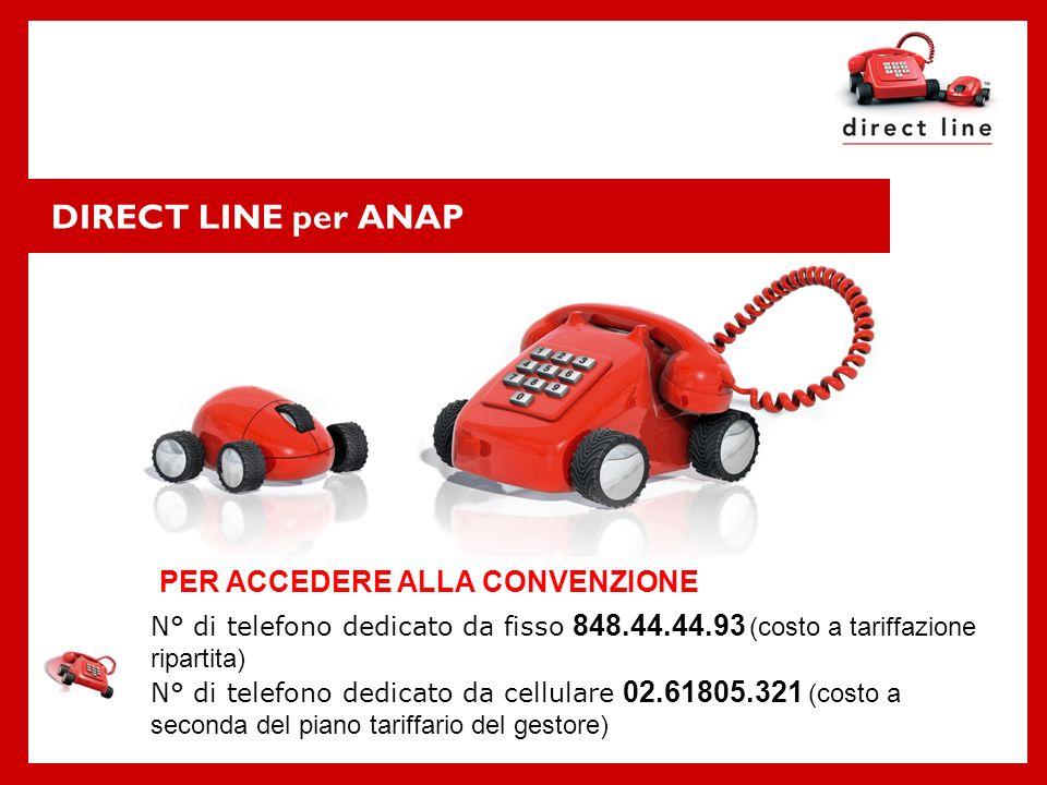 DIRECT LINE per ANAP PER ACCEDERE ALLA CONVENZIONE N° di telefono dedicato da fisso 848.44.44.93 (costo a tariffazione ripartita) N° di telefono dedic