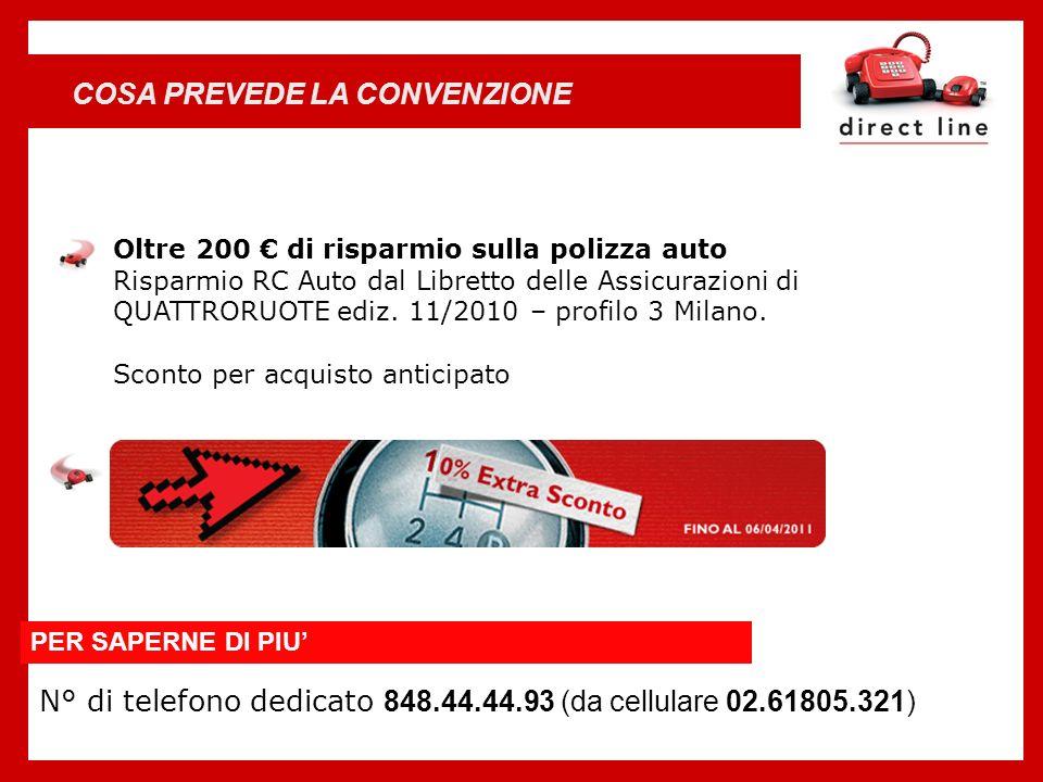 Oltre 200 di risparmio sulla polizza auto Risparmio RC Auto dal Libretto delle Assicurazioni di QUATTRORUOTE ediz. 11/2010 – profilo 3 Milano. Sconto