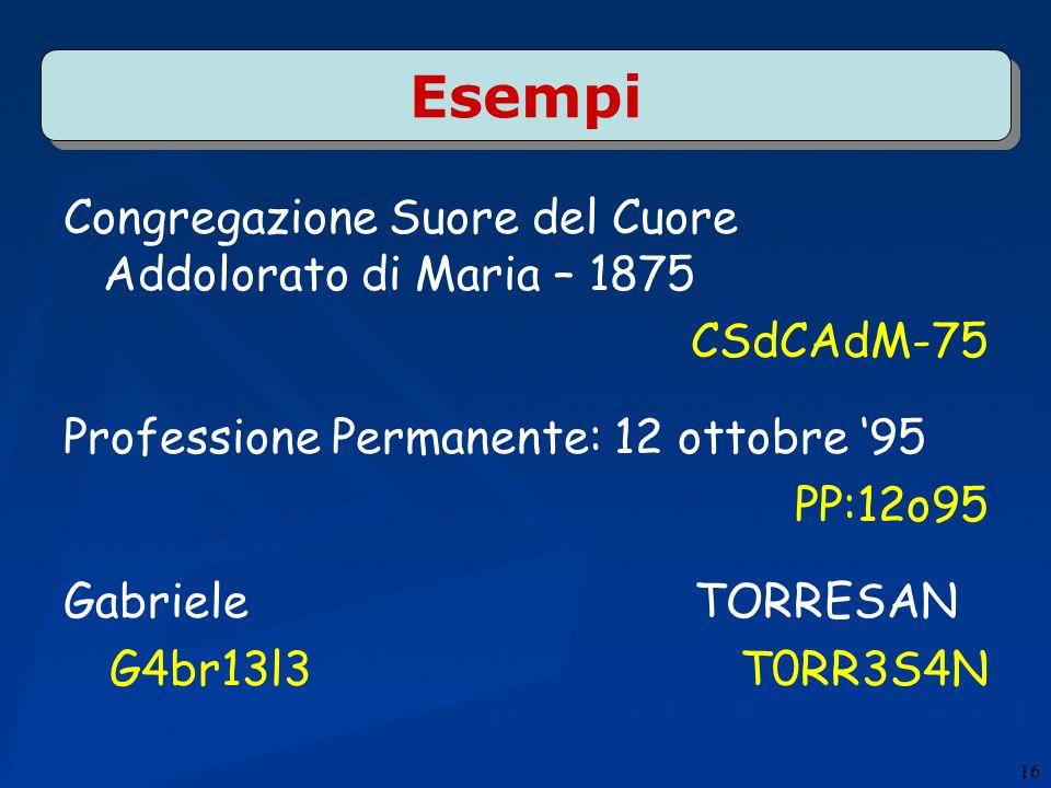 Esempi Congregazione Suore del Cuore Addolorato di Maria – 1875 CSdCAdM-75 Professione Permanente: 12 ottobre 95 PP:12o95 GabrieleTORRESAN G4br13l3T0RR3S4N 16