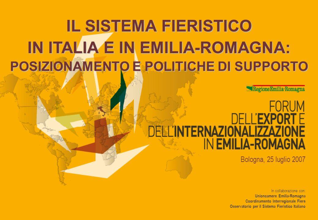In collaborazione con: Unioncamere Emilia-Romagna Coordinamento Interregionale Fiere Osservatorio per il Sistema Fieristico Italiano Bologna, 25 luglio 2007 IL SISTEMA FIERISTICO IN ITALIA E IN EMILIA-ROMAGNA: POSIZIONAMENTO E POLITICHE DI SUPPORTO