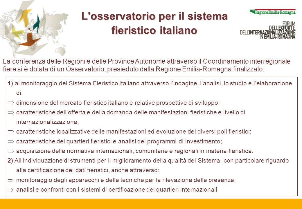 L'osservatorio per il sistema fieristico italiano La conferenza delle Regioni e delle Province Autonome attraverso il Coordinamento interregionale fie