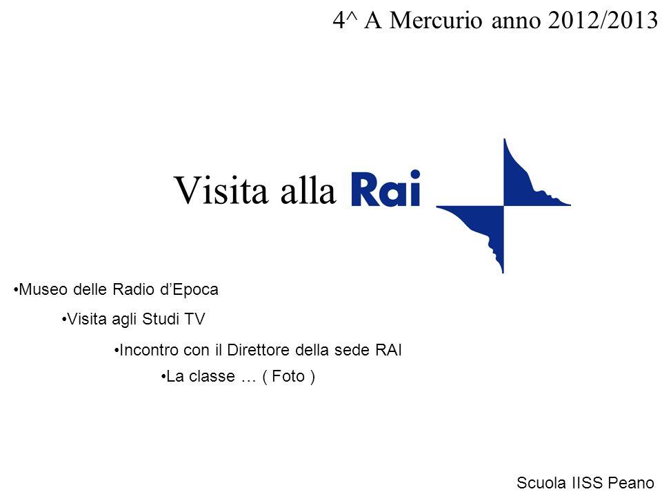 Visita alla 4^ A Mercurio anno 2012/2013 Museo delle Radio dEpoca Visita agli Studi TV Incontro con il Direttore della sede RAI Scuola IISS Peano La classe … ( Foto )