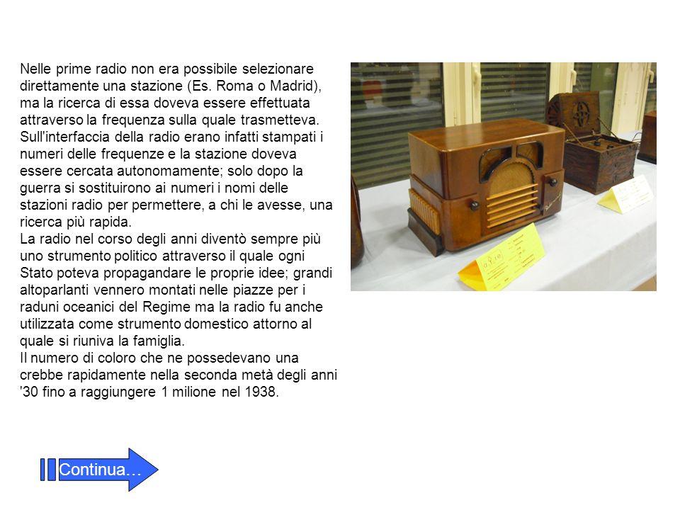 Nelle prime radio non era possibile selezionare direttamente una stazione (Es. Roma o Madrid), ma la ricerca di essa doveva essere effettuata attraver