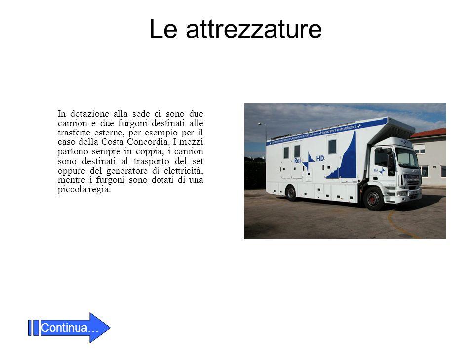 Le attrezzature In dotazione alla sede ci sono due camion e due furgoni destinati alle trasferte esterne, per esempio per il caso della Costa Concordia.