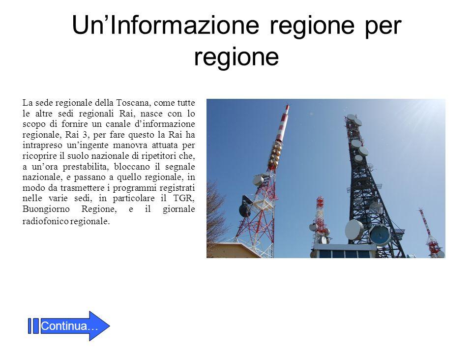 UnInformazione regione per regione La sede regionale della Toscana, come tutte le altre sedi regionali Rai, nasce con lo scopo di fornire un canale di