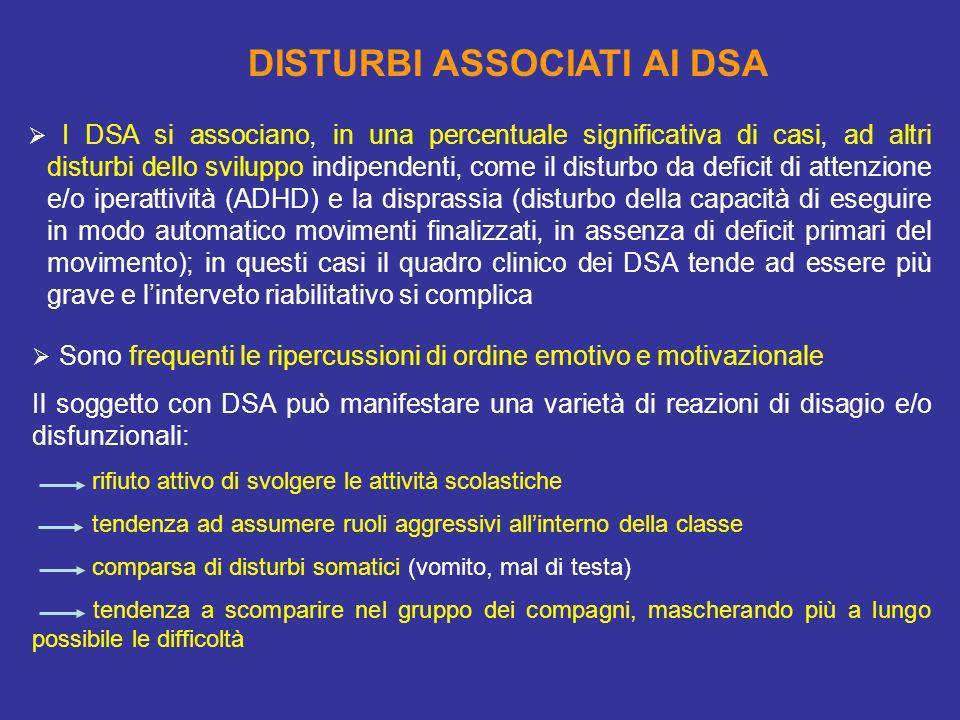 I DSA si associano, in una percentuale significativa di casi, ad altri disturbi dello sviluppo indipendenti, come il disturbo da deficit di attenzione