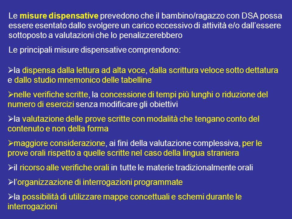 Le misure dispensative prevedono che il bambino/ragazzo con DSA possa essere esentato dallo svolgere un carico eccessivo di attività e/o dallessere so