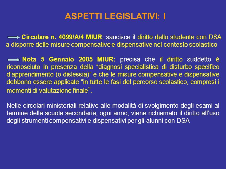 Circolare n. 4099/A/4 MIUR: sancisce il diritto dello studente con DSA a disporre delle misure compensative e dispensative nel contesto scolastico ASP
