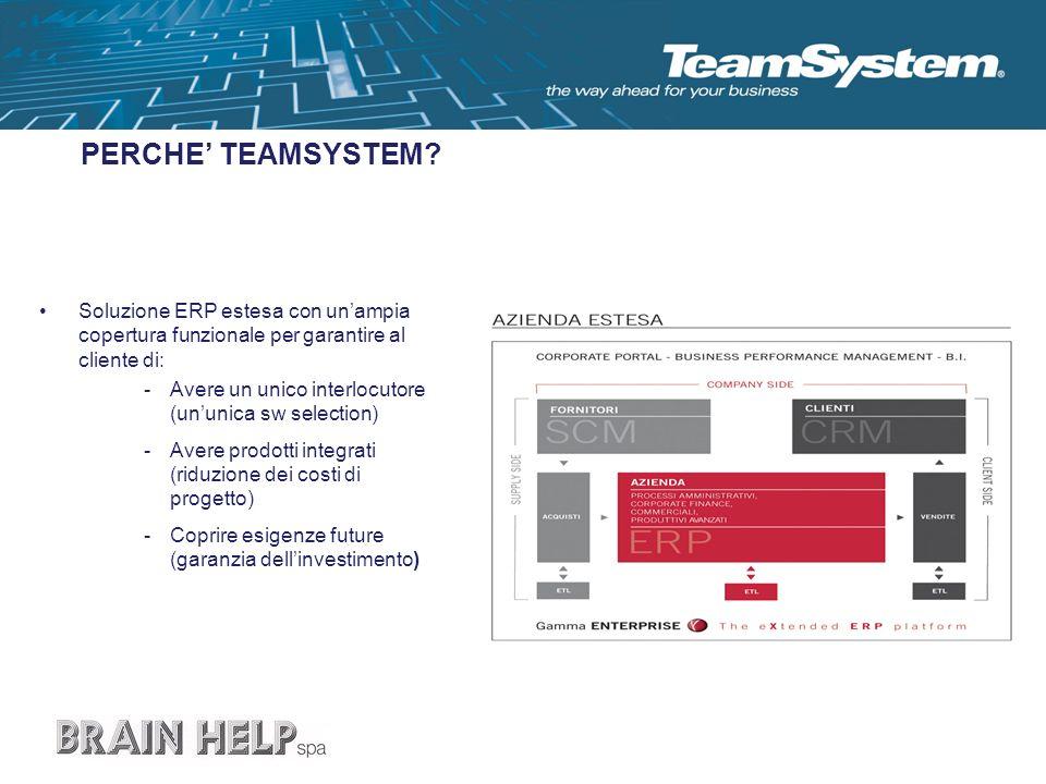 PERCHE TEAMSYSTEM? Soluzione ERP estesa con unampia copertura funzionale per garantire al cliente di: -Avere un unico interlocutore (ununica sw select