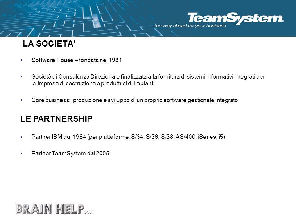 LA SOCIETA Software House – fondata nel 1981 Società di Consulenza Direzionale finalizzata alla fornitura di sistemi informativi integrati per le impr